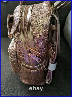 2019 Disney Parks Loungefly Sequined Minnie Mouse Rose Gold Backpack