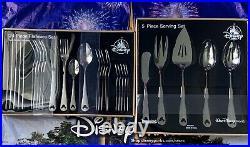 2020 Disney Parks Mickey Icon 24 Piece Flatware Set & 5 Piece Serving Set Silver