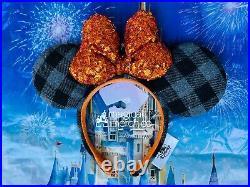2021 Disney Parks Halloween Plaid Minnie Ears With Orange Bow Headband New