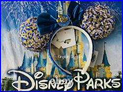 2021 Disney Parks WDW Annual Passholder Blue Sequined Minnie Mouse Bow Ears