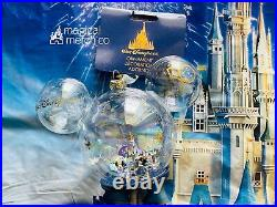 2021 Disney World 50th Anniversary 4 Parks Christmas Ornament Glass New In Hand
