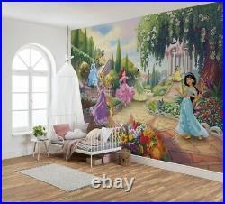 Children's bedroom wallpaper mural Disney Princess Park girly room decor + GLUE