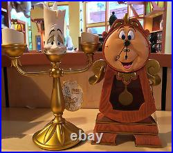 Disney Parks Beauty & the Beast Cogsworth Clock and Lumiere Light Up Figure Set