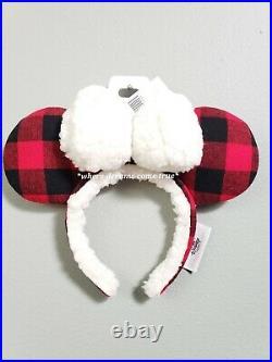 Disney Parks Christmas Holiday Plaid Red Black Ears Headband Mickey Minnie (NEW)