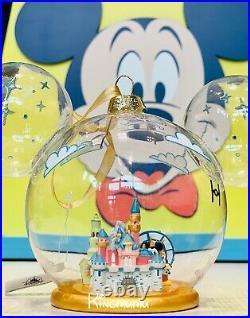 Disney Parks Disneyland Mickey Glass Sleeping Beauty Castle Fun Wheel Ornament