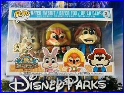 Disney Parks Funko Pop Splash Mountain 3 Pack Br'er Rabbit Fox Bear In Hand