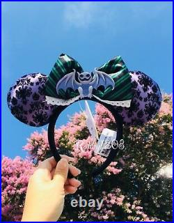 Disney Parks Haunted Mansion Minnie Ears Headband Bat Purple Wallpaper Maid Bow