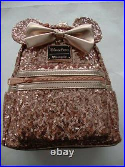 Disney Parks Loungefly 2018 Rose Gold Sequin Mini Backpack Wallet & Minnie Ears