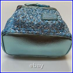 Disney Parks Loungefly Arendelle Aqua Minnie Mouse Sequined Mini Backpack NWT
