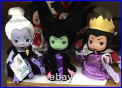 Disney Parks MINI VILLAINS SET Precious Moments Doll Maleficent Ursula Evil Quee