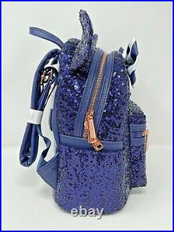 Disney Parks Minnie Mouse Disney Cruise Line Blue Sequined Loungefly Backpack