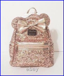 Disney Parks Rose Gold Minnie Mouse Sequined Mini Backpack Loungefly