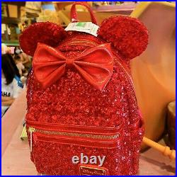HONG KONG Disneyland Park & Loungefly Minnie Mouse Red Sequined Mini Backpack