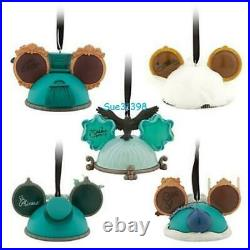 Haunted Mansion Ear Hat Ornament Set of 5 Disney Parks Limited Edition 2000 NEW