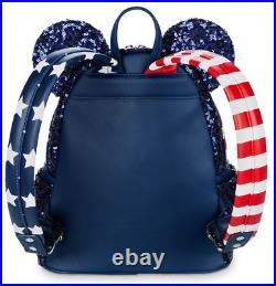 Loungefly Disney Parks Minnie Mouse Sequined Stars and Stripes Mini Backpack