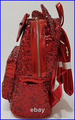 Loungefly x Disney Parks Red Minnie Mouse Sequin Mini Backpack Bag Exclusive