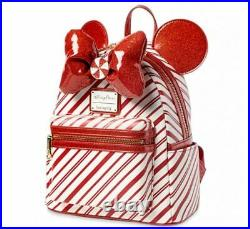 Minnie Mouse Bow Candy Cane Loungefly Mini Backpack Christmas 2020 Disney Parks