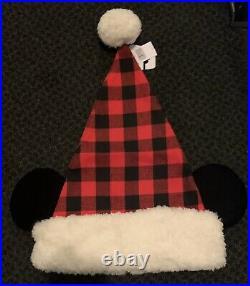 NEW Disney Parks 2019 Santa Mickey Ears Flannel Plaid Hat Christmas Holidays