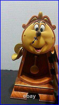 NEW Disney Parks Beauty and the Beast Cogsworth Clock 10 Working Clock Figurine
