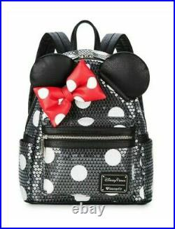 NEW Disney Parks Loungefly Minnie Mouse Sequined Polka-Dot Mini Backpack NWT