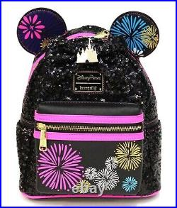 New Disney Parks Loungefly Main Attraction Minnie Castle Fireworks Mini Backpack