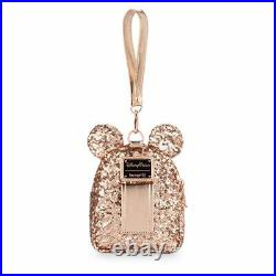 New Disney Parks Loungefly Rose Gold Sequined Minnie Mouse Backpack Wristlet