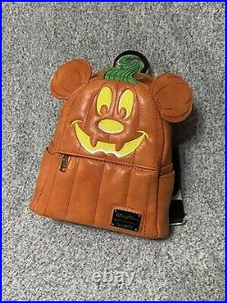 Nwt Disney Parks Loungefly Mickey Mouse Pumpkin Backpack Purse Halloween